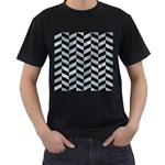 CHEVRON1 BLACK MARBLE & ICE CRYSTALS Men s T-Shirt (Black) (Two Sided)