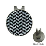 CHEVRON1 BLACK MARBLE & ICE CRYSTALS Hat Clips with Golf Markers