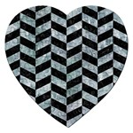 CHEVRON1 BLACK MARBLE & ICE CRYSTALS Jigsaw Puzzle (Heart)