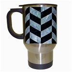 CHEVRON1 BLACK MARBLE & ICE CRYSTALS Travel Mugs (White)