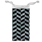 CHEVRON1 BLACK MARBLE & ICE CRYSTALS Jewelry Bag