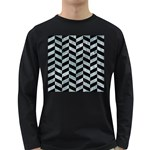 CHEVRON1 BLACK MARBLE & ICE CRYSTALS Long Sleeve Dark T-Shirts