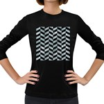 CHEVRON1 BLACK MARBLE & ICE CRYSTALS Women s Long Sleeve Dark T-Shirts