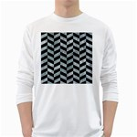 CHEVRON1 BLACK MARBLE & ICE CRYSTALS White Long Sleeve T-Shirts