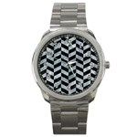 CHEVRON1 BLACK MARBLE & ICE CRYSTALS Sport Metal Watch
