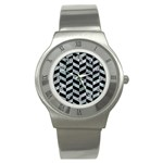 CHEVRON1 BLACK MARBLE & ICE CRYSTALS Stainless Steel Watch