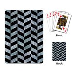 CHEVRON1 BLACK MARBLE & ICE CRYSTALS Playing Card