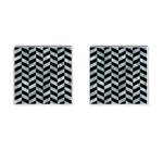 CHEVRON1 BLACK MARBLE & ICE CRYSTALS Cufflinks (Square)