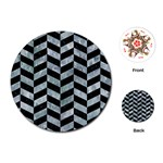 CHEVRON1 BLACK MARBLE & ICE CRYSTALS Playing Cards (Round)
