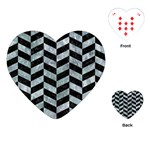 CHEVRON1 BLACK MARBLE & ICE CRYSTALS Playing Cards (Heart)