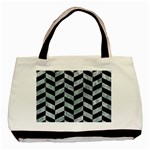 CHEVRON1 BLACK MARBLE & ICE CRYSTALS Basic Tote Bag