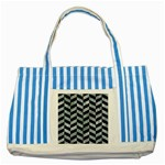 CHEVRON1 BLACK MARBLE & ICE CRYSTALS Striped Blue Tote Bag