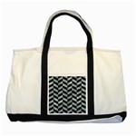 CHEVRON1 BLACK MARBLE & ICE CRYSTALS Two Tone Tote Bag