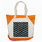 CHEVRON1 BLACK MARBLE & ICE CRYSTALS Accent Tote Bag