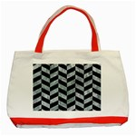 CHEVRON1 BLACK MARBLE & ICE CRYSTALS Classic Tote Bag (Red)