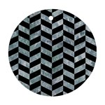 CHEVRON1 BLACK MARBLE & ICE CRYSTALS Round Ornament (Two Sides)
