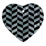 CHEVRON1 BLACK MARBLE & ICE CRYSTALS Heart Ornament (Two Sides)