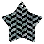 CHEVRON1 BLACK MARBLE & ICE CRYSTALS Star Ornament (Two Sides)