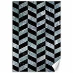 CHEVRON1 BLACK MARBLE & ICE CRYSTALS Canvas 12  x 18