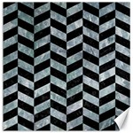 CHEVRON1 BLACK MARBLE & ICE CRYSTALS Canvas 20  x 20