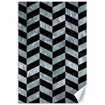 CHEVRON1 BLACK MARBLE & ICE CRYSTALS Canvas 24  x 36