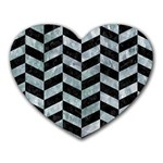 CHEVRON1 BLACK MARBLE & ICE CRYSTALS Heart Mousepads
