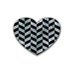 CHEVRON1 BLACK MARBLE & ICE CRYSTALS Rubber Coaster (Heart)