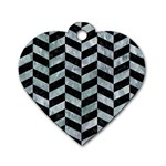 CHEVRON1 BLACK MARBLE & ICE CRYSTALS Dog Tag Heart (Two Sides)