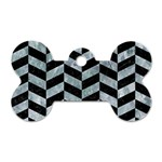 CHEVRON1 BLACK MARBLE & ICE CRYSTALS Dog Tag Bone (Two Sides)