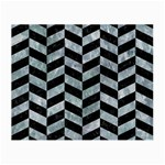 CHEVRON1 BLACK MARBLE & ICE CRYSTALS Small Glasses Cloth (2-Side)
