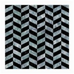 CHEVRON1 BLACK MARBLE & ICE CRYSTALS Medium Glasses Cloth (2-Side)