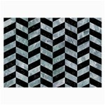 CHEVRON1 BLACK MARBLE & ICE CRYSTALS Large Glasses Cloth (2-Side)