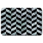 CHEVRON1 BLACK MARBLE & ICE CRYSTALS Large Doormat