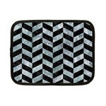 CHEVRON1 BLACK MARBLE & ICE CRYSTALS Netbook Case (Small)
