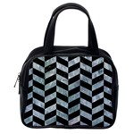 CHEVRON1 BLACK MARBLE & ICE CRYSTALS Classic Handbags (One Side)