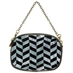 CHEVRON1 BLACK MARBLE & ICE CRYSTALS Chain Purses (One Side)