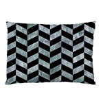 CHEVRON1 BLACK MARBLE & ICE CRYSTALS Pillow Case