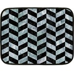 CHEVRON1 BLACK MARBLE & ICE CRYSTALS Double Sided Fleece Blanket (Mini)
