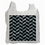 CHEVRON1 BLACK MARBLE & ICE CRYSTALS Recycle Bag (One Side)