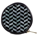 CHEVRON1 BLACK MARBLE & ICE CRYSTALS Mini Makeup Bags