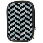 CHEVRON1 BLACK MARBLE & ICE CRYSTALS Compact Camera Cases