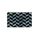 CHEVRON1 BLACK MARBLE & ICE CRYSTALS Cosmetic Bag (Small)