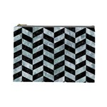 CHEVRON1 BLACK MARBLE & ICE CRYSTALS Cosmetic Bag (Large)