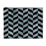 CHEVRON1 BLACK MARBLE & ICE CRYSTALS Cosmetic Bag (XL)