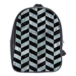 CHEVRON1 BLACK MARBLE & ICE CRYSTALS School Bag (Large)