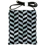 CHEVRON1 BLACK MARBLE & ICE CRYSTALS Shoulder Sling Bags