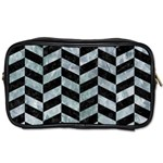 CHEVRON1 BLACK MARBLE & ICE CRYSTALS Toiletries Bags