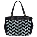 CHEVRON1 BLACK MARBLE & ICE CRYSTALS Office Handbags (2 Sides)