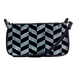 CHEVRON1 BLACK MARBLE & ICE CRYSTALS Shoulder Clutch Bags