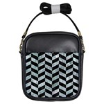 CHEVRON1 BLACK MARBLE & ICE CRYSTALS Girls Sling Bags